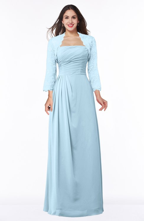 ColsBM Camila Ice Blue Modest Strapless Zip up Floor Length Lace Mother of the Bride Dresses