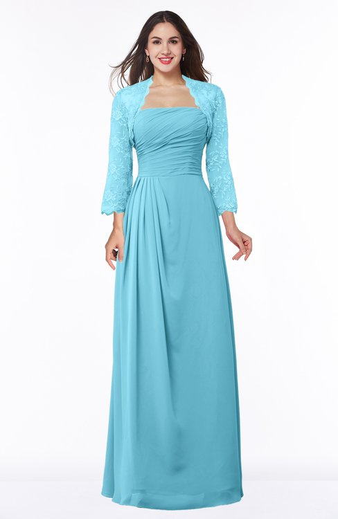 ColsBM Camila Light Blue Modest Strapless Zip up Floor Length Lace Mother of the Bride Dresses