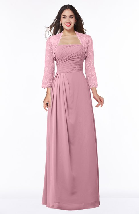 ColsBM Camila Light Coral Modest Strapless Zip up Floor Length Lace Mother of the Bride Dresses