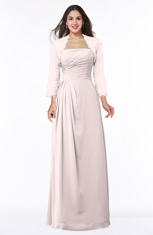 ColsBM Camila Light Pink Modest Strapless Zip up Floor Length Lace Mother of the Bride Dresses