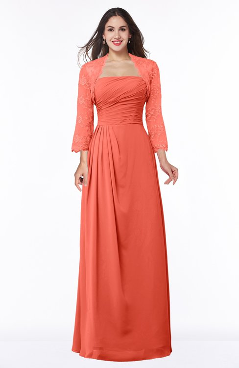 ColsBM Camila Living Coral Modest Strapless Zip up Floor Length Lace Mother of the Bride Dresses