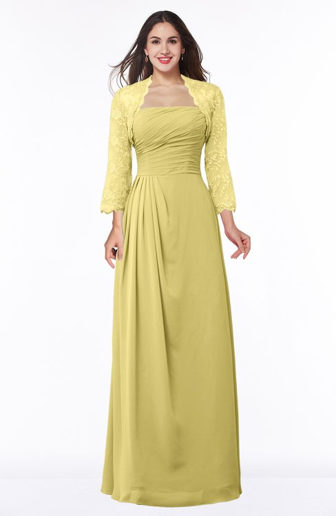 ColsBM Camila Misted Yellow Modest Strapless Zip up Floor Length Lace Mother of the Bride Dresses
