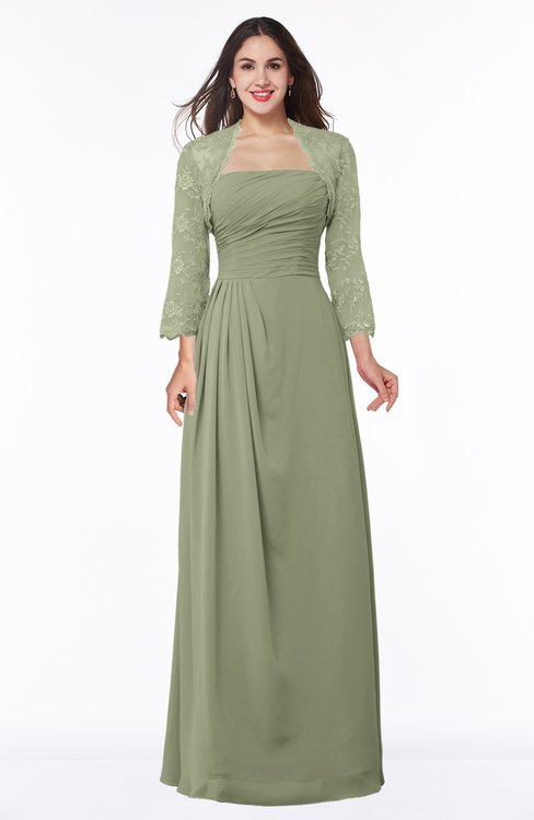 ColsBM Camila Moss Green Modest Strapless Zip up Floor Length Lace Mother of the Bride Dresses