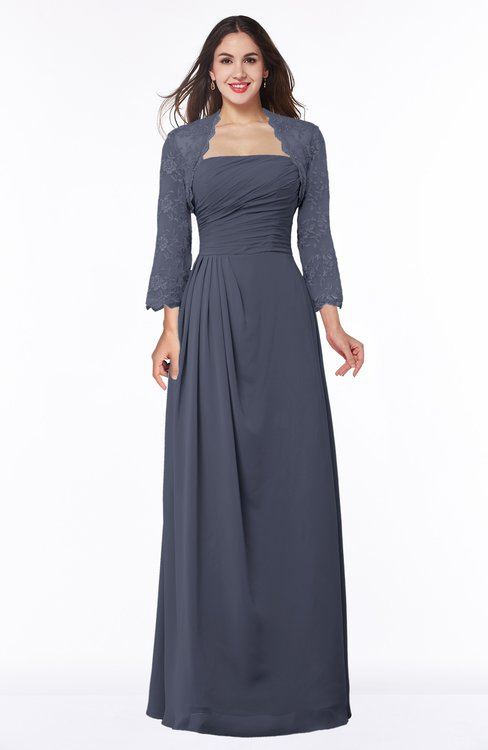 ColsBM Camila Nightshadow Blue Modest Strapless Zip up Floor Length Lace Mother of the Bride Dresses