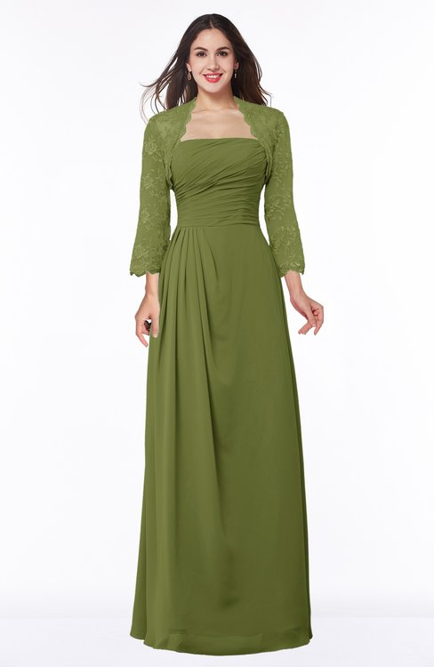 ColsBM Camila Olive Green Modest Strapless Zip up Floor Length Lace Mother of the Bride Dresses