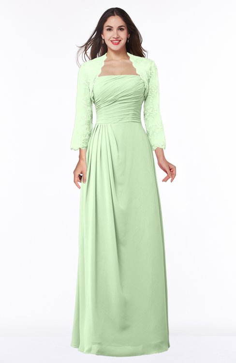 ColsBM Camila Pale Green Modest Strapless Zip up Floor Length Lace Mother of the Bride Dresses