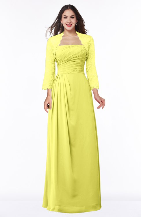 ColsBM Camila Pale Yellow Modest Strapless Zip up Floor Length Lace Mother of the Bride Dresses