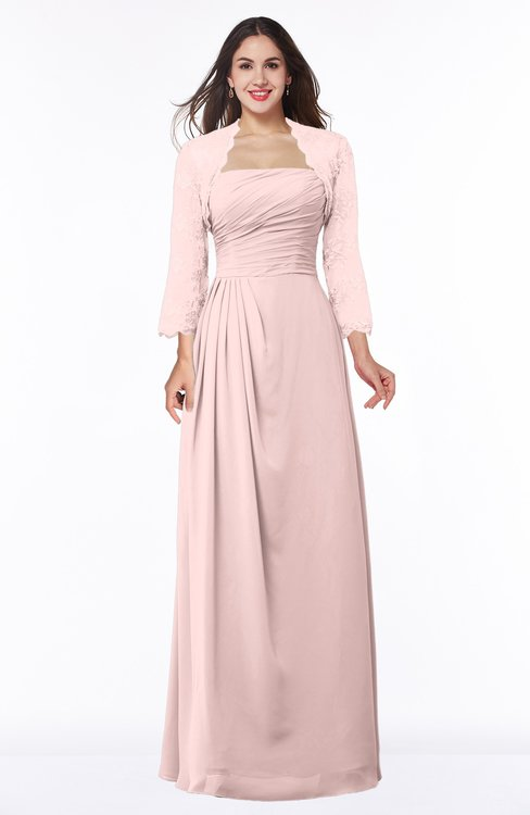 ColsBM Camila Pastel Pink Modest Strapless Zip up Floor Length Lace Mother of the Bride Dresses