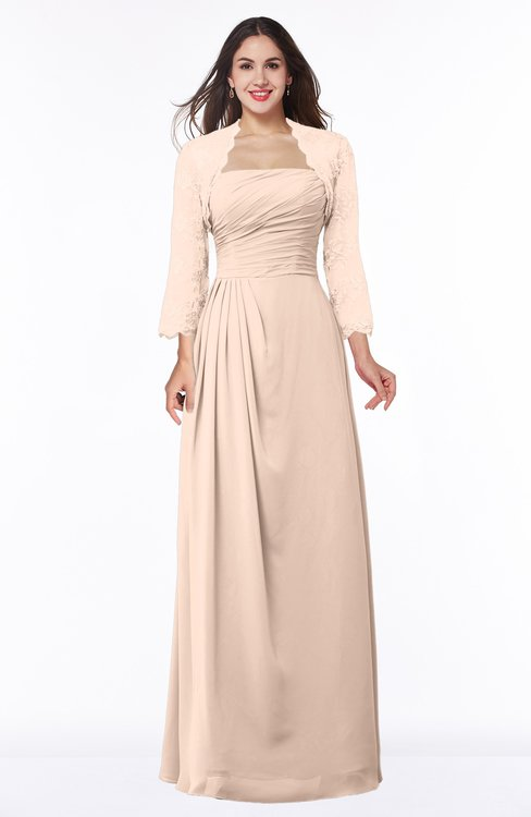 ColsBM Camila Peach Puree Modest Strapless Zip up Floor Length Lace Mother of the Bride Dresses