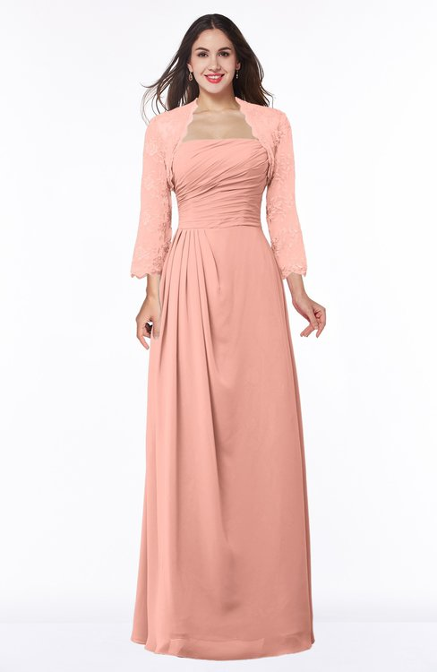 ColsBM Camila Peach Modest Strapless Zip up Floor Length Lace Mother of the Bride Dresses