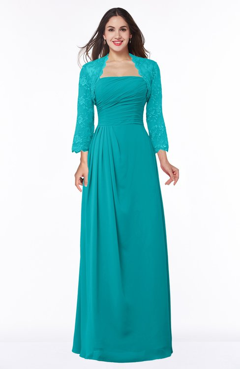 ColsBM Camila Peacock Blue Modest Strapless Zip up Floor Length Lace Mother of the Bride Dresses
