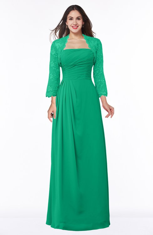 ColsBM Camila Pepper Green Modest Strapless Zip up Floor Length Lace Mother of the Bride Dresses