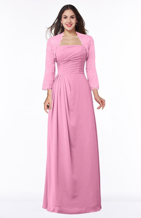 ColsBM Camila Pink Modest Strapless Zip up Floor Length Lace Mother of the Bride Dresses