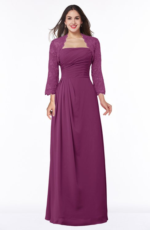 ColsBM Camila Raspberry Modest Strapless Zip up Floor Length Lace Mother of the Bride Dresses