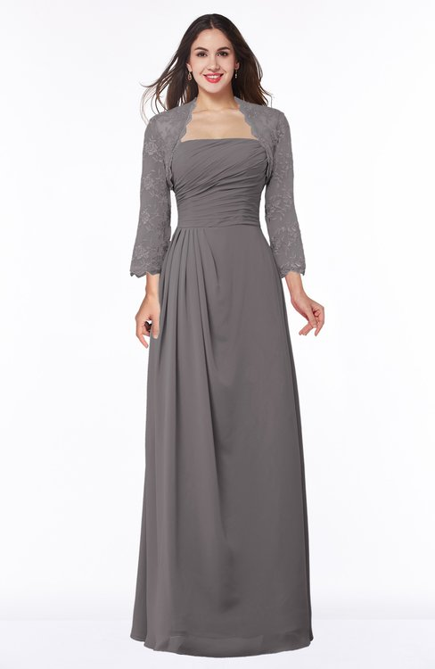 ColsBM Camila Ridge Grey Modest Strapless Zip up Floor Length Lace Mother of the Bride Dresses