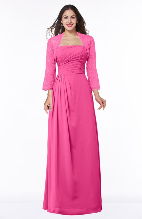 ColsBM Camila Rose Pink Modest Strapless Zip up Floor Length Lace Mother of the Bride Dresses