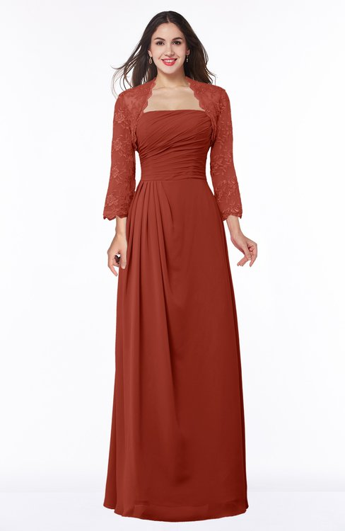 ColsBM Camila Rust Modest Strapless Zip up Floor Length Lace Mother of the Bride Dresses