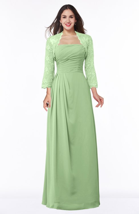 ColsBM Camila Sage Green Modest Strapless Zip up Floor Length Lace Mother of the Bride Dresses