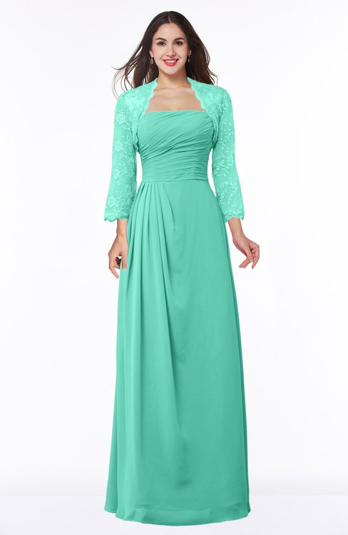 ColsBM Camila Seafoam Green Modest Strapless Zip up Floor Length Lace Mother of the Bride Dresses