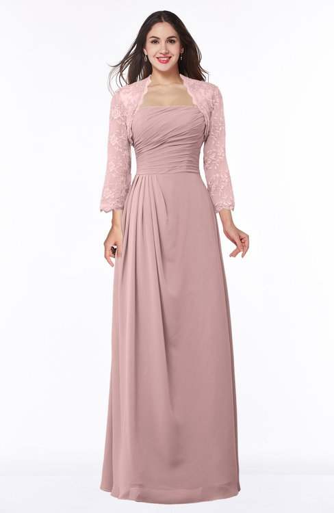 ColsBM Camila Silver Pink Modest Strapless Zip up Floor Length Lace Mother of the Bride Dresses