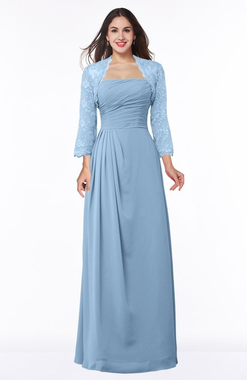 ColsBM Camila Sky Blue Modest Strapless Zip up Floor Length Lace Mother of the Bride Dresses