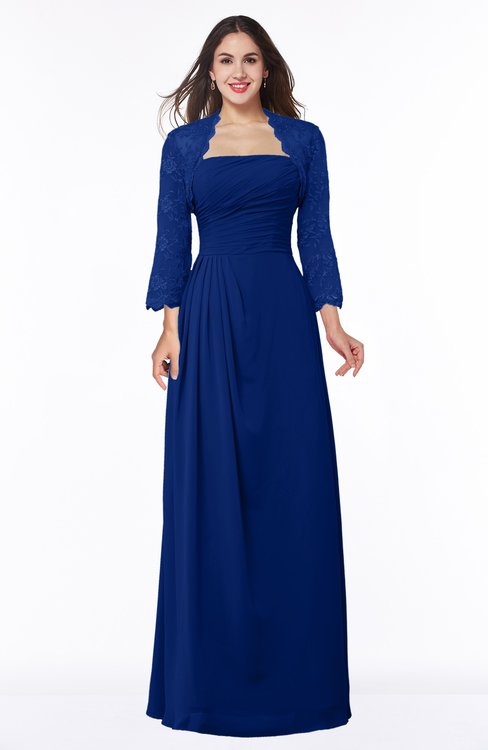 ColsBM Camila Sodalite Blue Modest Strapless Zip up Floor Length Lace Mother of the Bride Dresses