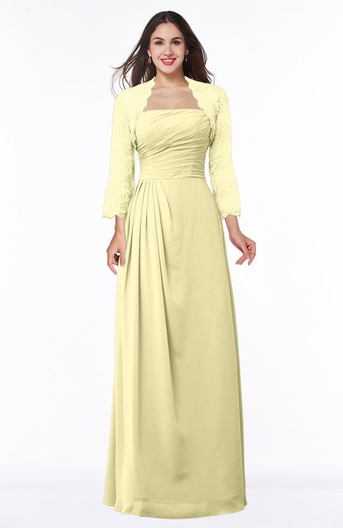 ColsBM Camila Soft Yellow Modest Strapless Zip up Floor Length Lace Mother of the Bride Dresses