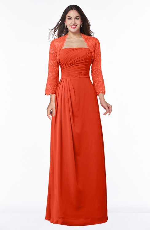 ColsBM Camila Tangerine Tango Modest Strapless Zip up Floor Length Lace Mother of the Bride Dresses
