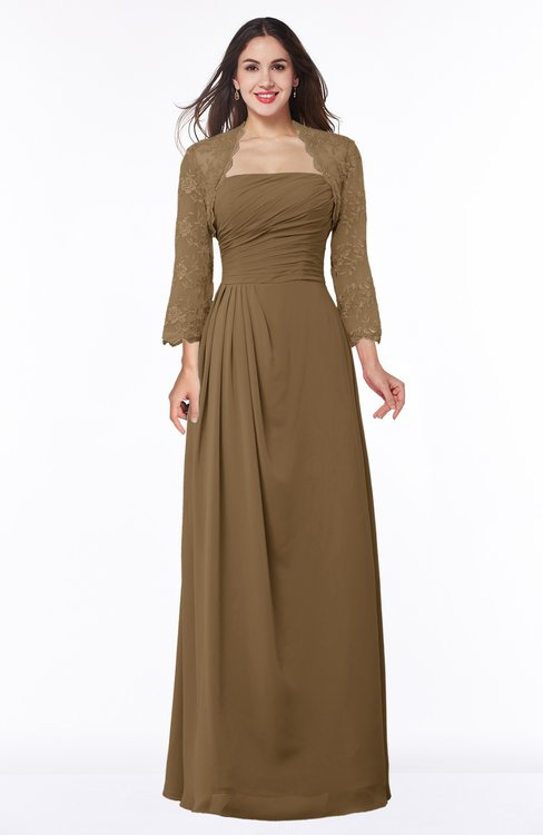 ColsBM Camila Truffle Modest Strapless Zip up Floor Length Lace Mother of the Bride Dresses