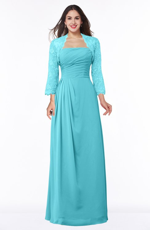 ColsBM Camila Turquoise Modest Strapless Zip up Floor Length Lace Mother of the Bride Dresses