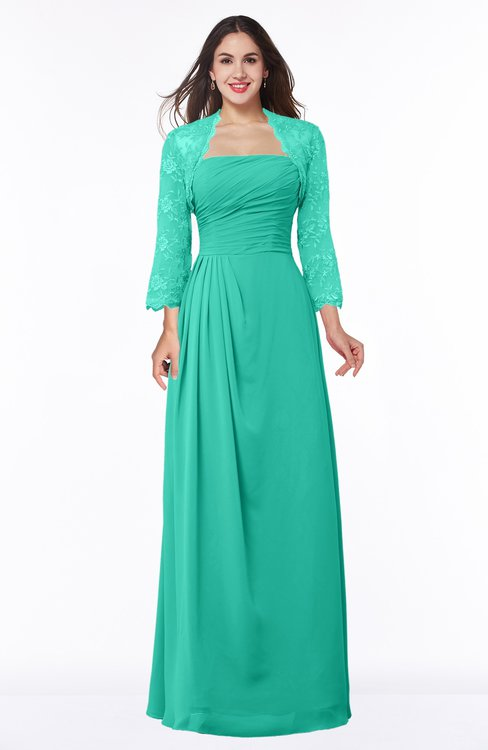 ColsBM Camila Viridian Green Modest Strapless Zip up Floor Length Lace Mother of the Bride Dresses