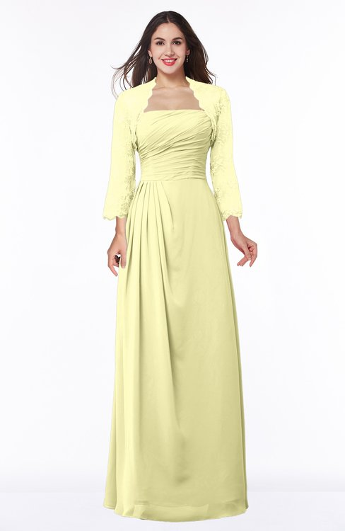 ColsBM Camila Wax Yellow Modest Strapless Zip up Floor Length Lace Mother of the Bride Dresses