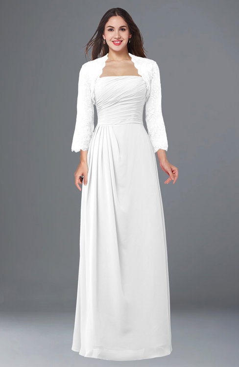 ColsBM Camila White Modest Strapless Zip up Floor Length Lace Mother of the Bride Dresses