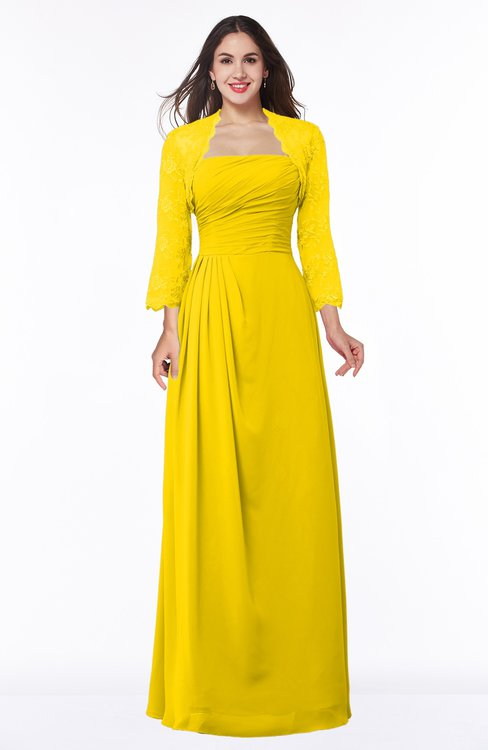 ColsBM Camila Yellow Modest Strapless Zip up Floor Length Lace Mother of the Bride Dresses