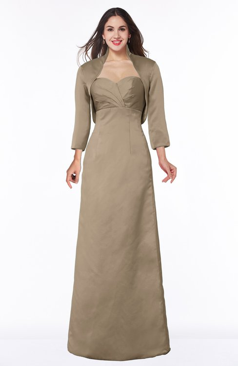 ColsBM Erica Almondine Brown Traditional Criss-cross Straps Satin Floor Length Pick up Mother of the Bride Dresses