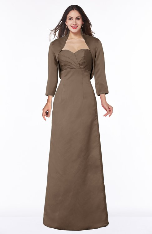 ColsBM Erica Bronze Brown Traditional Criss-cross Straps Satin Floor Length Pick up Mother of the Bride Dresses