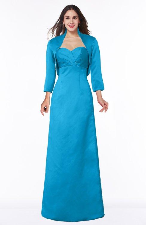 ColsBM Erica Cornflower Blue Traditional Criss-cross Straps Satin Floor Length Pick up Mother of the Bride Dresses