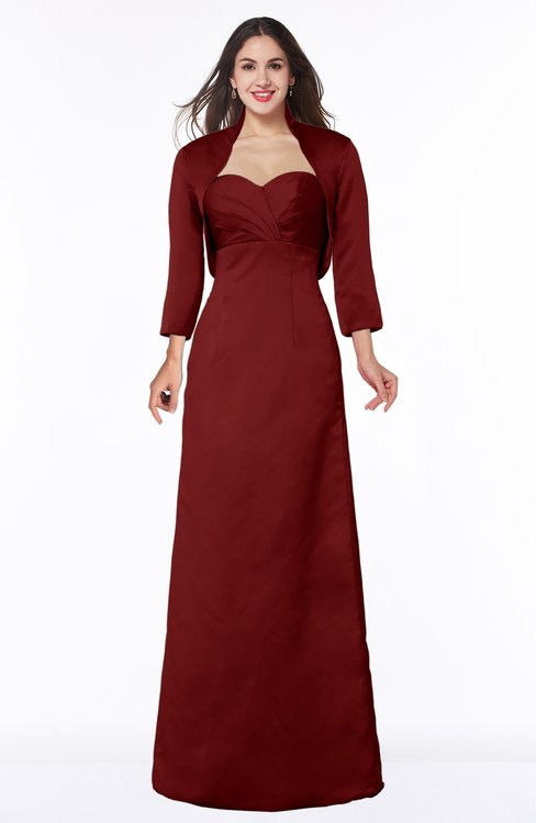 ColsBM Erica Dark Red Traditional Criss-cross Straps Satin Floor Length Pick up Mother of the Bride Dresses