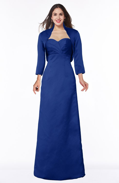 ColsBM Erica Electric Blue Traditional Criss-cross Straps Satin Floor Length Pick up Mother of the Bride Dresses