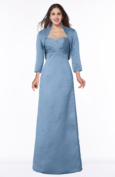 ColsBM Erica Faded Denim Traditional Criss-cross Straps Satin Floor Length Pick up Mother of the Bride Dresses