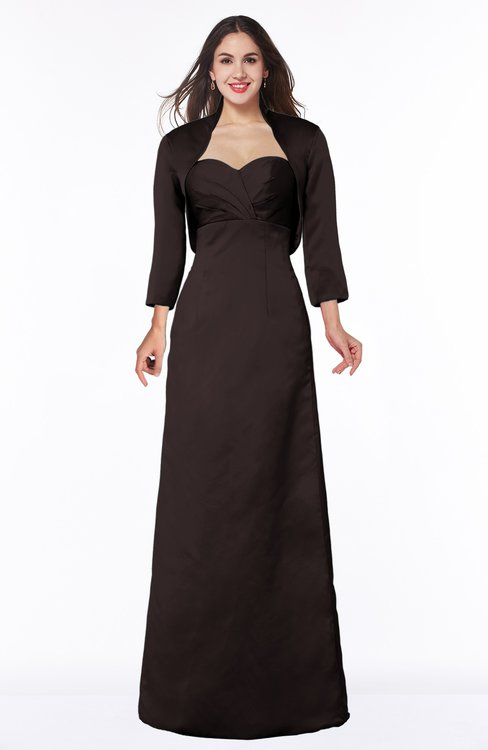ColsBM Erica Fudge Brown Traditional Criss-cross Straps Satin Floor Length Pick up Mother of the Bride Dresses