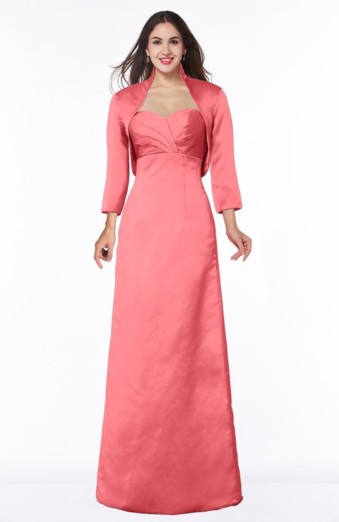 ColsBM Erica Hot Coral Traditional Criss-cross Straps Satin Floor Length Pick up Mother of the Bride Dresses