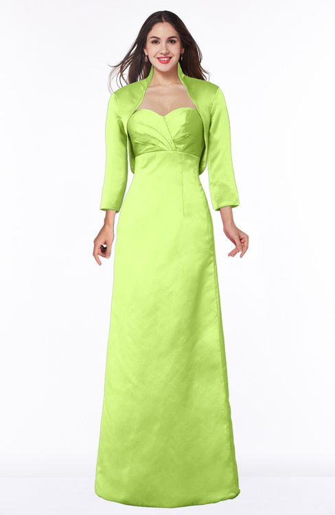 ColsBM Erica Lime Green Traditional Criss-cross Straps Satin Floor Length Pick up Mother of the Bride Dresses