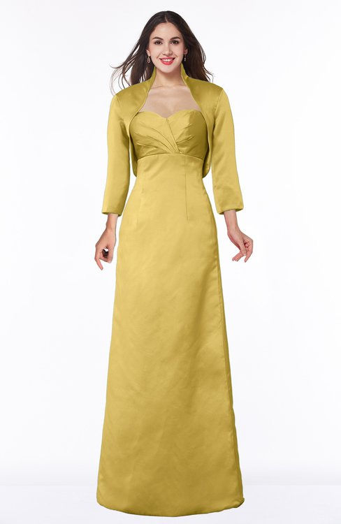 ColsBM Erica Misted Yellow Traditional Criss-cross Straps Satin Floor Length Pick up Mother of the Bride Dresses