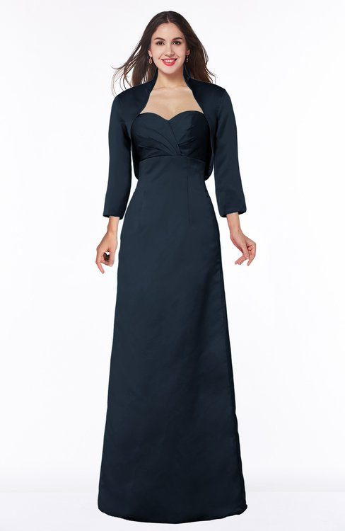 ColsBM Erica Navy Blue Traditional Criss-cross Straps Satin Floor Length Pick up Mother of the Bride Dresses