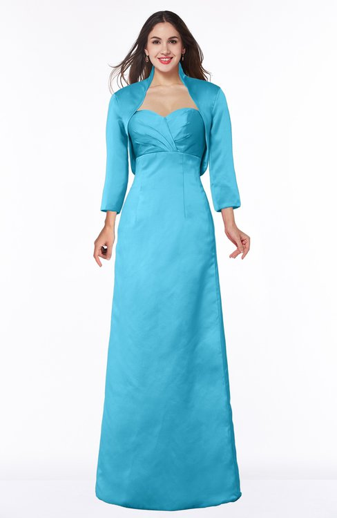ColsBM Erica River Blue Traditional Criss-cross Straps Satin Floor Length Pick up Mother of the Bride Dresses