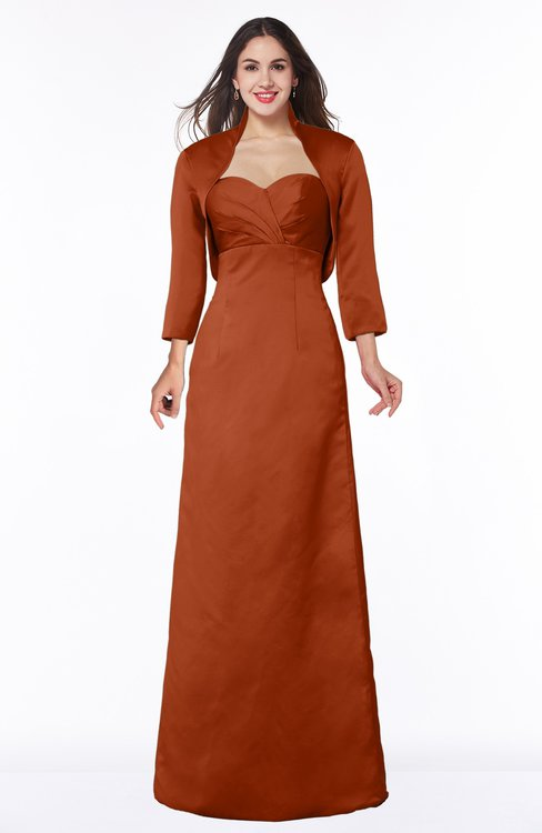 ColsBM Erica Rust Traditional Criss-cross Straps Satin Floor Length Pick up Mother of the Bride Dresses
