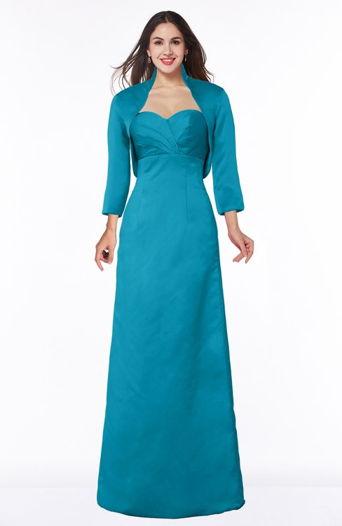 ColsBM Erica Teal Traditional Criss-cross Straps Satin Floor Length Pick up Mother of the Bride Dresses