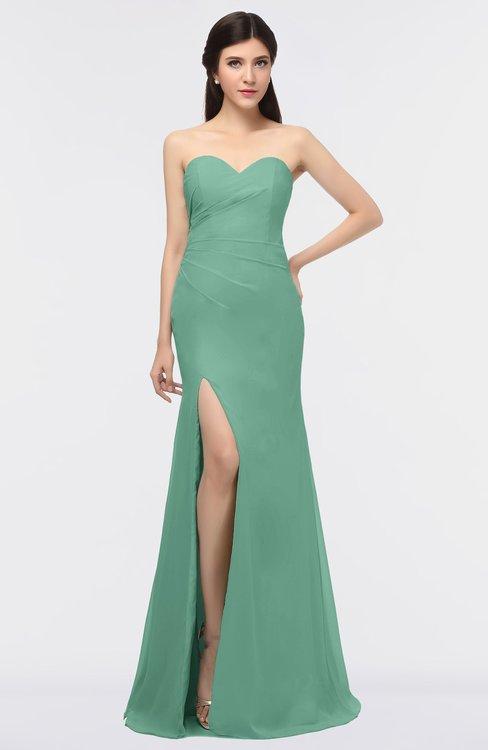 ColsBM Claudia Beryl Green Mature Sheath Strapless Sleeveless Floor Length Ruching Bridesmaid Dresses
