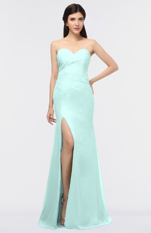 ColsBM Claudia Blue Glass Mature Sheath Strapless Sleeveless Floor Length Ruching Bridesmaid Dresses